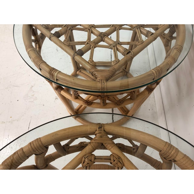 Vintage Boho Chic Rattan and Reed Side Tables - a Pair For Sale - Image 9 of 11