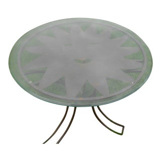 Wrought Iron & Glass Sun Face Patio Table For Sale