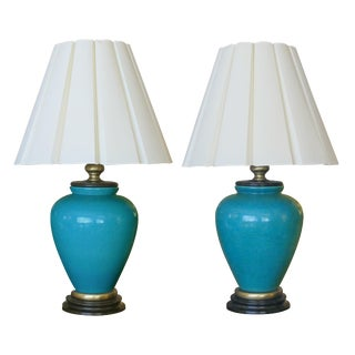 A Striking and Large Pair of American 1960's Turquoise Crackle-Glaze Ceramic Lamps by Frederick Cooper For Sale