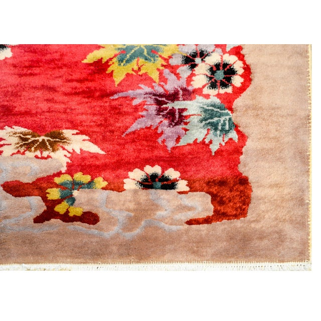 Raspberry Pink Chinese Art Deco Rug For Sale - Image 8 of 10