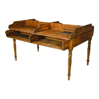 Four Bin German Cigar Rolling Factory Writing Table For Sale