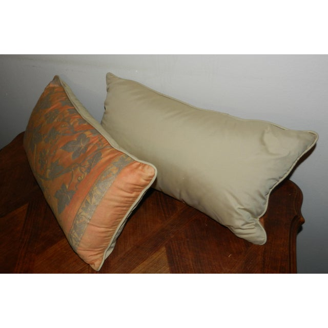 Fortuny Orange & Silver Lumbar Pillows - A Pair - Image 4 of 5