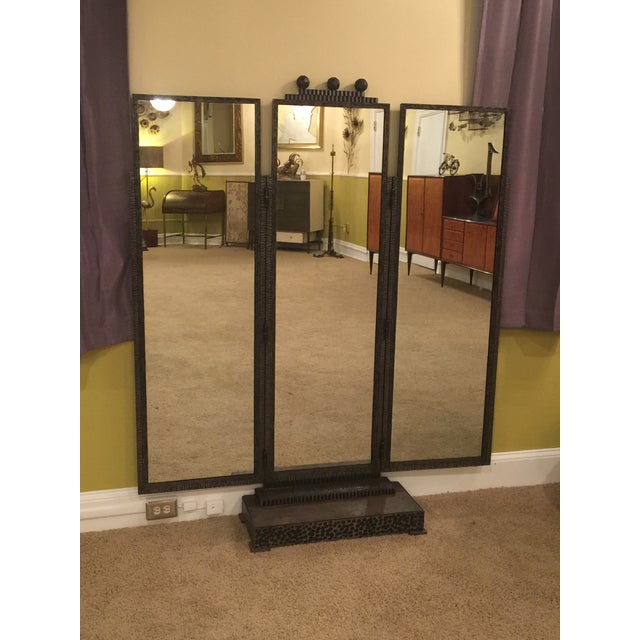 Substantial and heavy wrought iron art deco dressing mirror. Great hammered and textured three paneled mirror that has...