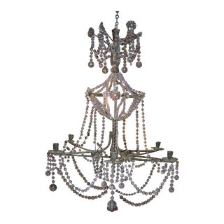 19th Century Star-Shaped Crystal and Beaded Chandelier