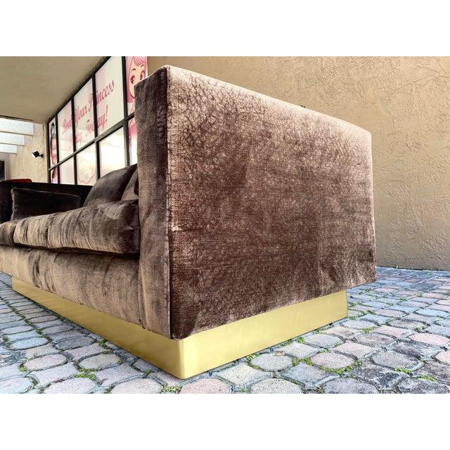 1980s Newly Reupholstered Velvet Tuxedo Sofa For Sale - Image 5 of 7
