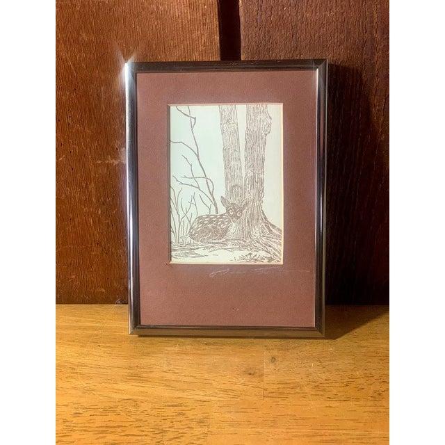Metal Gwen Frostic Deer Block Print For Sale - Image 7 of 7