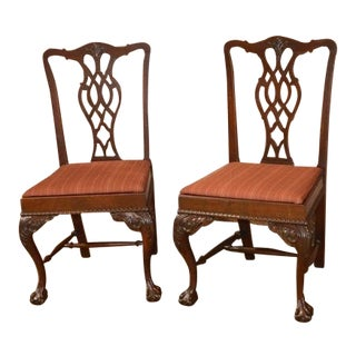 1920s Antique Chippendale Style Carved Mahogany Side Chairs - A Pair For Sale