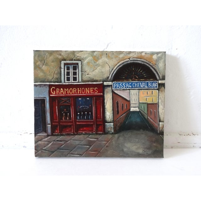 French Provincial Vintage Painting of Paris, France, Storefronts and the Passage Du Cheval Blanc For Sale - Image 3 of 8