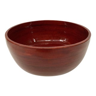 1970s Vintage Vietnamese Red Bamboo Lacquered Bowl For Sale