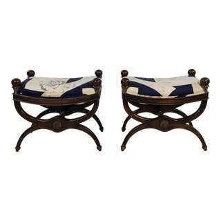 Regency Style Upholstered Curule Stools Benches - a Pair For Sale