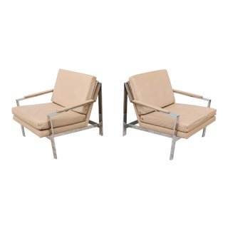 Vintage Cy Mann Leather and Chrome Lounge Chairs - a Pair For Sale