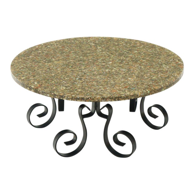 Wrought Iron Base Abalone Composite Round Top Coffee Table For Sale