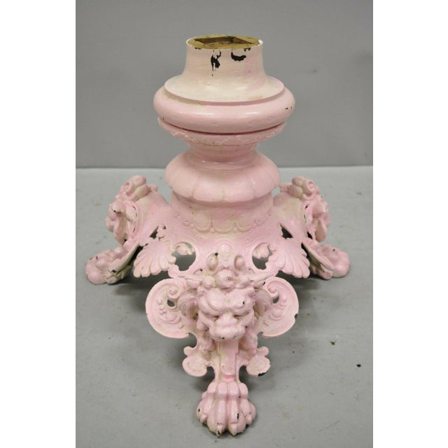 Antique French Empire Style Cast Iron Pedestal Side Table Base With Lions For Sale - Image 12 of 13