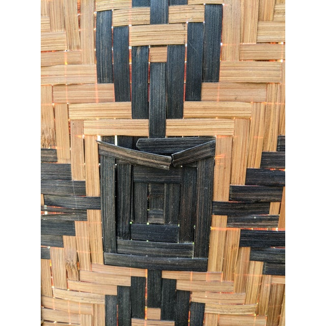 Mid 20th Century Mid 20th Century Three Panel Handwoven Folding Screen For Sale - Image 5 of 8
