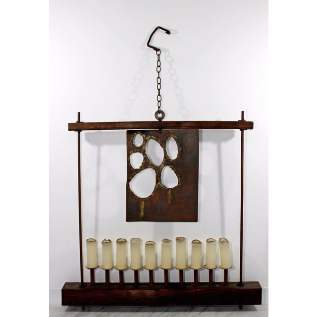 Mid Century Modern Large Brutalist Metal Wood Hanging Candelabra by W. D. Bauss For Sale - Image 9 of 9