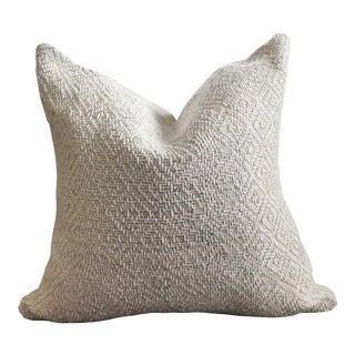West Elm Natural Linen Pillow With Silver Metallic Woven Thread