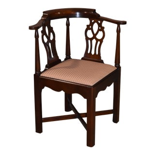 1970s Vintage Solid Mahogany Chippendale Style Corner Chair For Sale