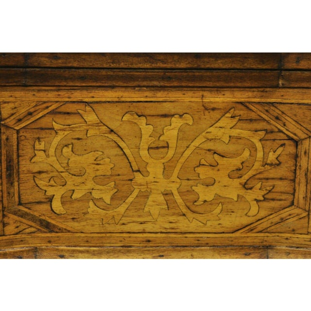 Antique Italian Continental 3 Drawer Inlaid Walnut Commode Chest Nightstand For Sale - Image 4 of 12