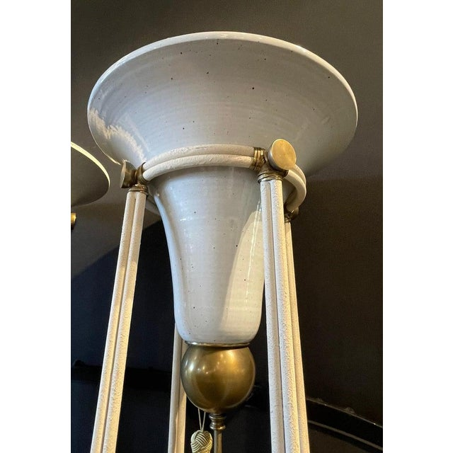 Metal Pair of Mid-Century Modern Bronze Floor Torchiere Lamps With Porcelain Globes For Sale - Image 7 of 12