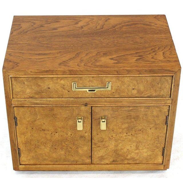 Light Burl Wood Campaign Nightstands Bed Tables Brass Hardware - A Pair For Sale - Image 11 of 13