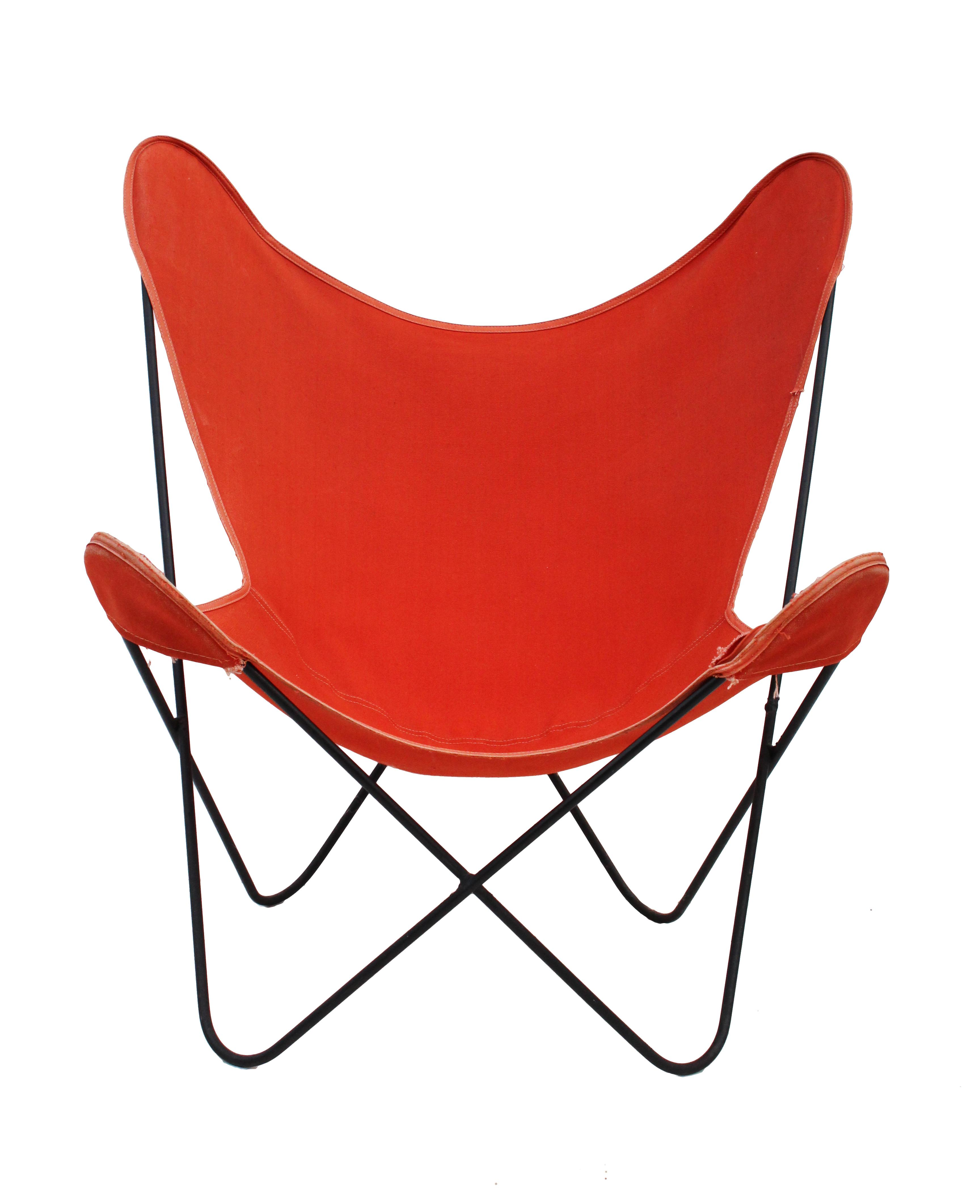 Butterfly Chair In Red Orange Canvas   Image 4 Of 10