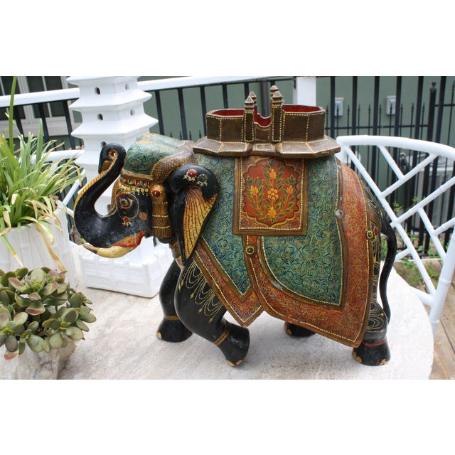 Antique Hand-Painted and Carved Wooden Elephant For Sale - Image 4 of 12