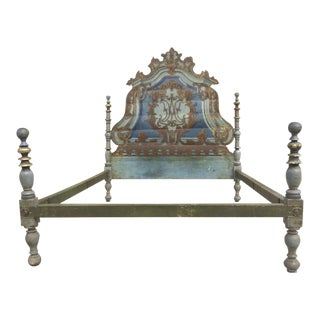19th Century Painted Italian Rococo Headboard Bed For Sale