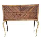 Image of 1960s Boho Chic Pencil Reed and Brass Legs Decorative Chest For Sale