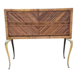1960s Boho Chic Pencil Reed and Brass Legs Decorative Chest For Sale