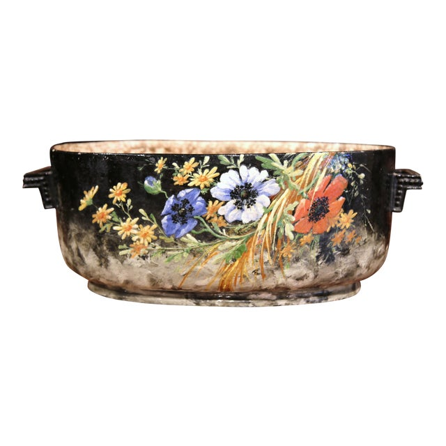 Early 20th Century French Handpainted Jardiniere from Montigny sur Loing For Sale