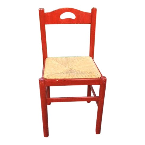 1970s Vintage Red Wood Chair For Sale