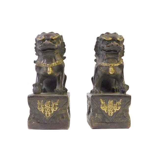 Brown Bronze Golden Fengshui Foo Dogs - Pair - Image 1 of 6