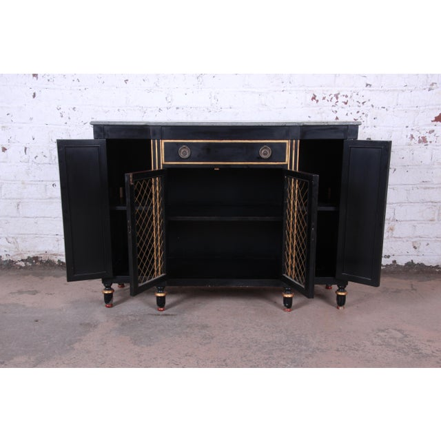 Gold Baker Furniture Neoclassical Sideboard Credenza or Bar Cabinet For Sale - Image 7 of 12