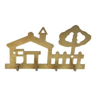 Vintage Brass House Shaped Key Hook For Sale