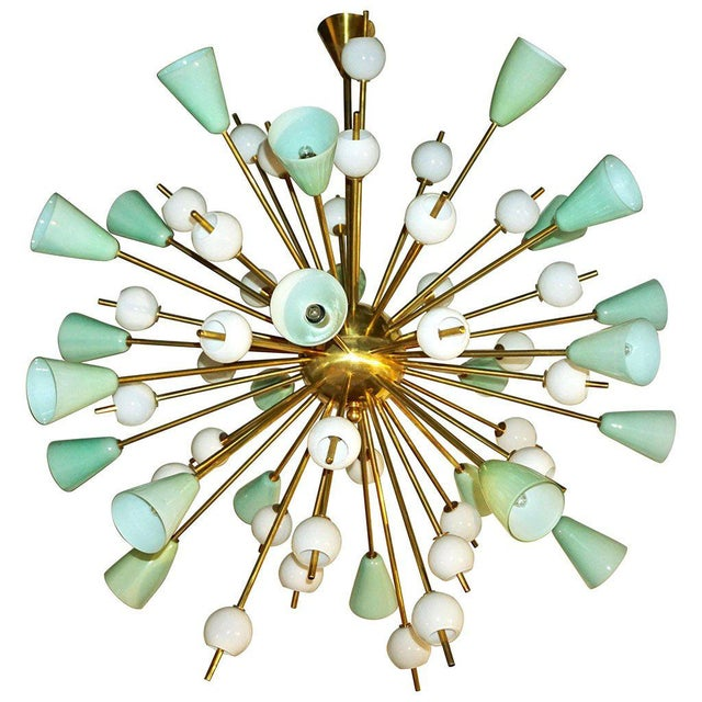 Gold Contemporary Italian White & Mint Green Murano Glass Sputnik Brass Chandelier For Sale - Image 8 of 8