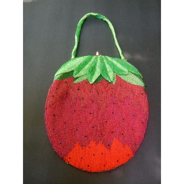 Glass Beaded Strawberry Evening Bag For Sale - Image 6 of 10