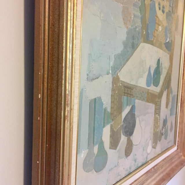 Gold Leaf Blue Chair by Brodzinsky For Sale - Image 7 of 10