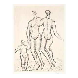 Expressionist Figures With Child, Etching on Paper, Early 20th Century