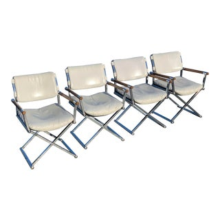 Mid Century Modern Chrome Wood Directors Chairs - Set of 4 For Sale