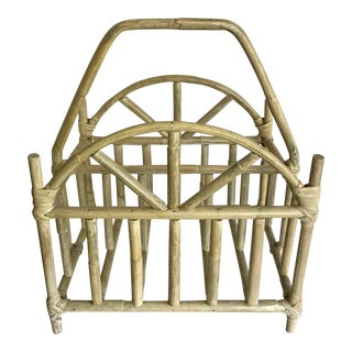 Vintage Asian Chinoiserie Bamboo Magazine Rack For Sale