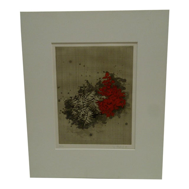 """""""Red Flowers"""" Signed Print For Sale"""