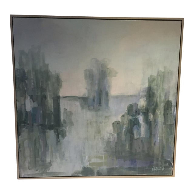 Serene Waterscape Impressionist Painting - Image 1 of 5