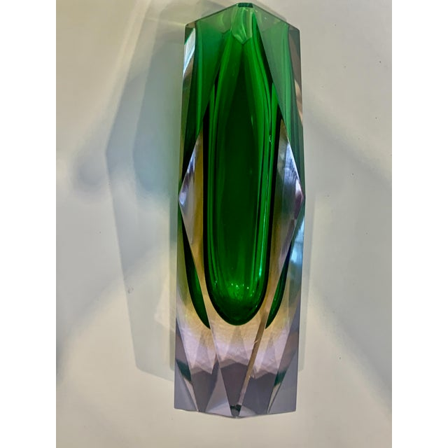 Original vintage glass vase designed by Flavio Poli and produced in the 1970s in Murano, Italy. This is made with Sommerso...