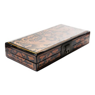 19th Century Chinese Black Lacquer Wood Invitation Box For Sale