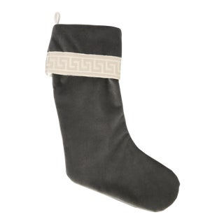 Charcoal Velvet Greek Key Stocking For Sale