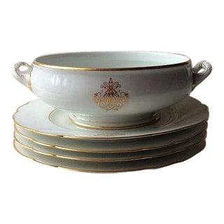 Antique French Porcelain Salad Bowl & Plates - Set of 5 For Sale