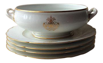 Antique French Porcelain Salad Bowl u0026 Plates - Set of 5  sc 1 st  Chairish : french porcelain dinnerware - pezcame.com
