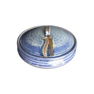 1970s Ceramic Glazed Blue Pot with Lid For Sale