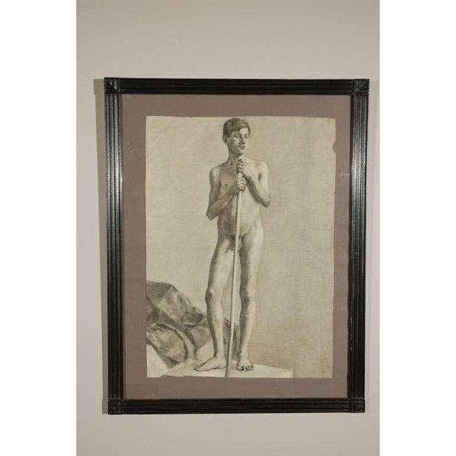 Pair of charcoal Italian male nude drawings from 1880. One subject as a musician boy and one as an artist's model.