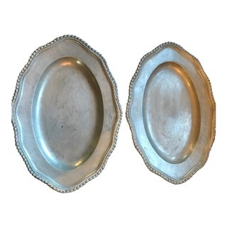 Pair Dutch Pewter Plates, circa 1930 For Sale